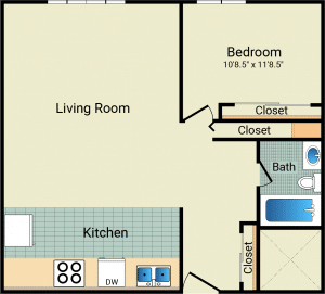 1 Bed / 1 Bath / 624 sq ft / Availability: Please Call / Rent: $780