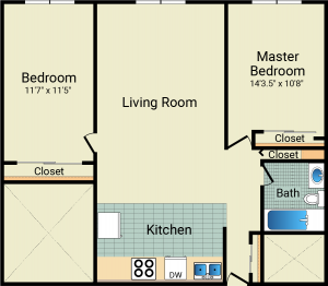2 Bed / 1 Bath / 820 sq ft / Availability: Please Call / Rent: $880